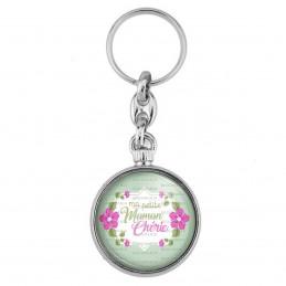 Porte-Clés forme Montre Antique 2 faces Ma petite maman chérie - Fleurs Violettes Fond Vert