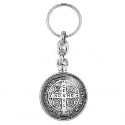 Porte-Clés forme Montre Antique 2 faces Medaille Croix de Saint Benoit Exorcisme Benediction