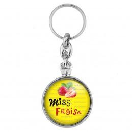 Porte-Clés forme Montre Antique 2 faces Miss Fraise - Fruit fraises sur fond jaune