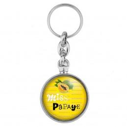 Porte-Clés forme Montre Antique 2 faces Miss Papaye - Fruit papaye sur fond jaune