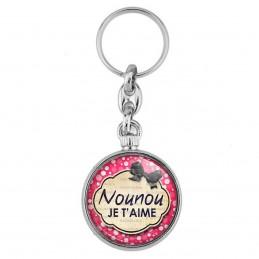 Porte-Clés forme Montre Antique 2 faces Nounou je t'aime - Fond rose bulles