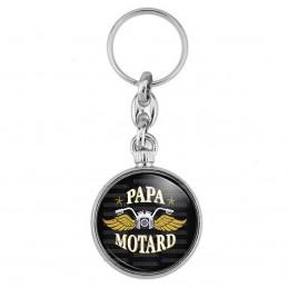 Porte-Clés forme Montre Antique 2 faces Papa Motard - Moto Ailes Or Fond Noir