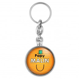 Porte-Clés forme Montre Antique 2 faces Papy Malin - Fond orange