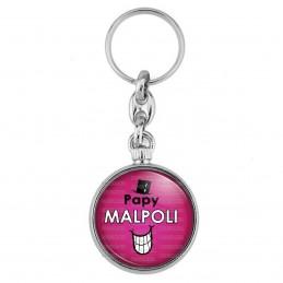 Porte-Clés forme Montre Antique 2 faces Papy Malpoli - Fond violet