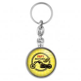 Porte-Clés forme Montre Antique 2 faces Papy Motard - Moto Ailée fond jaune