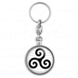 Porte-Clés forme Montre Antique 2 faces Triskell Symbole Celte Celtique Breton Bretagne Noir Fond Blanc