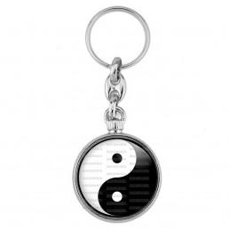Porte-Clés forme Montre Antique 2 faces Yin Yang Blanc Noir Harmonie Equilibre Feng Shui Paix Peace
