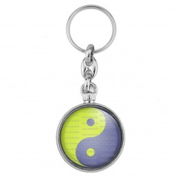 Porte-Clés forme Montre Antique 2 faces Yin Yang Vert Anis Gris Harmonie Equilibre Feng Shui Paix Peace