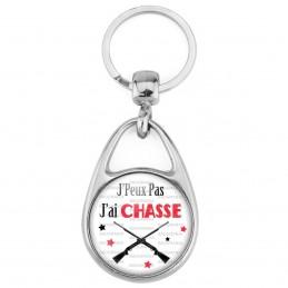 Porte Clés Métal 2 Faces Logo 3cm J'Peux Pas J'ai CHASSE