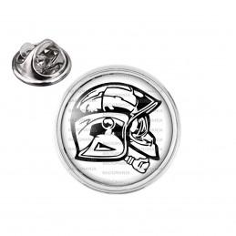 Pin's rond 2cm argenté SP Casque F1 de profil Sapeurs Pompiers Firefighter