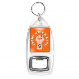 Porte Clés Décapsuleur Fight Like a Girl - Feminist Girl Power - Fond Orange