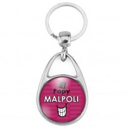 Porte Clés Métal 2 Faces Logo 3cm Papy Malpoli - Fond violet