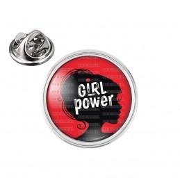 Pin's rond 2cm argenté Girl Power - Silhouette Femme Feminist - Fond Rouge