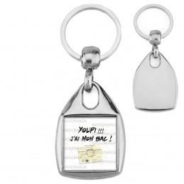 Porte-Clés Carré Acier YOUPI !! J'ai mon BAC ! Diplôme Baccalauréat Fond Blanc