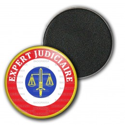 Magnet Aimant Frigo 3.8cm Cocarde Expert Judiciaire Bleu Blanc Rouge Texte Blanc