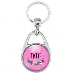 Porte Clés Métal 2 Faces Logo 3cm Future TATIE qui déchire - Banderole Fond rose - Annonce Grossesse Naissance