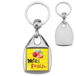 Porte-Clés Carré Acier Miss Fraise - Fruit fraises sur fond jaune