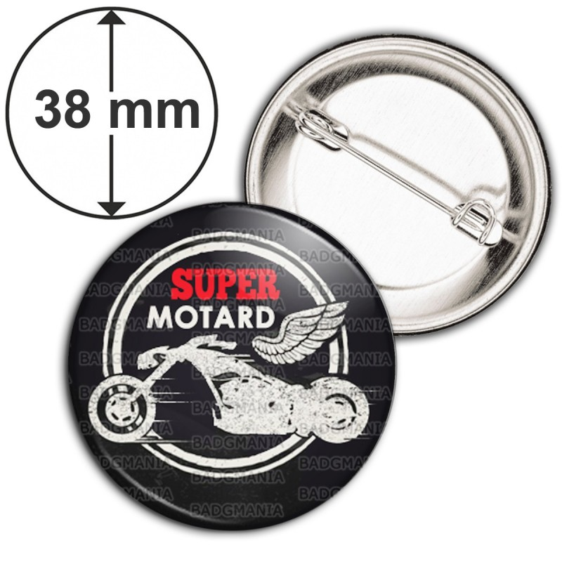 Badge 38mm Epingle Super Motard - Moto Ailée Fond Noir