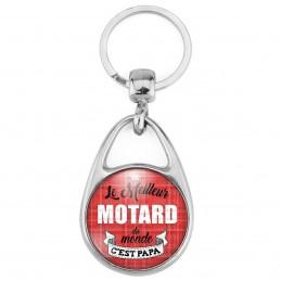 Porte Clés Métal 2 Faces Logo 3cm Le meilleur motard du monde c'est Papa - Fond Rouge