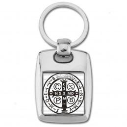 Porte Clés Rectangle Acier 2 Faces Medaille Croix de Saint Benoit Blanc Noir Exorcisme Benediction