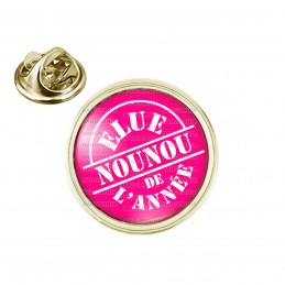 Pin's rond 2cm doré Elue Nounou de l'année - Fond rose fuschia