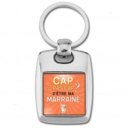 Porte Clés Rectangle Acier 2 Faces Cap ou pas Cap d'être ma Marraine - Fond orange chaton