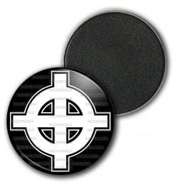 Magnet Aimant Frigo 3.8cm Croix Celte Celtique Blanche Fond Noir France Nation Patriote Celtique