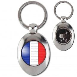 Porte-Clés Acier Ovale Jeton Caddie France Tricolore Bleu Blanc Rouge Drapeau Français