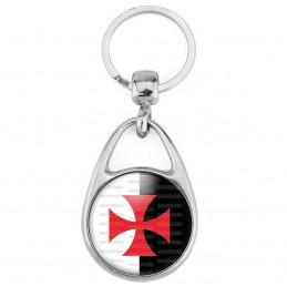 Porte Clés Métal 2 Faces Logo 3cm Croix Templière Templier Ordre du Temple Fond Blanc Noir