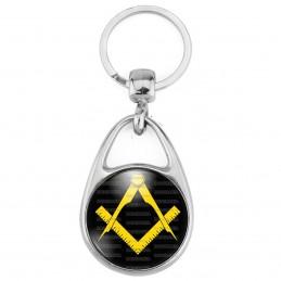 Porte Clés Métal 2 Faces Logo 3cm Compas Equerre Francs-Maçons Symbole Maçonnique Jaune Fond Noir