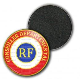 Magnet Aimant Frigo 3.8cm Cocarde Tricolore Conseiller Départemental RF Bleu Blanc Rouge