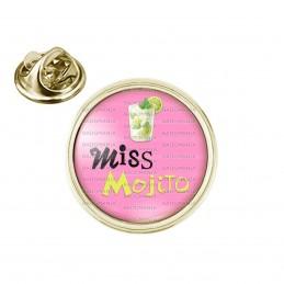 Pin's rond 2cm doré Miss Mojito - Verre Mojiton boisson sur fond rose