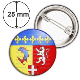 Badge 25mm Epingle Blason Rhone-Alpes Drapeau Symbole France