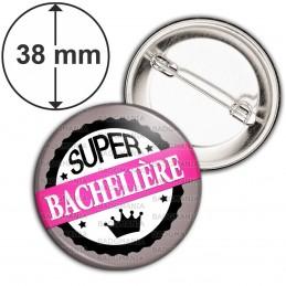 Badge 38mm Epingle BAC - Super Bachelière - Couronne Rose Gris