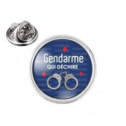Pin's rond 2cm argenté Gendarme qui déchire - Menottes Fond Bleu