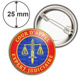 Badge 25mm Epingle Cocarde Bleu Rouge Expert Judiciaire Cours d'Appel Texte Or