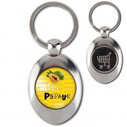 Porte-Clés Acier Ovale Jeton Caddie Miss Papaye - Fruit papaye sur fond jaune