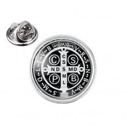 Pin's rond 2cm argenté Croix de Saint Benoit Noir et Blanc Exorcisme Benediction