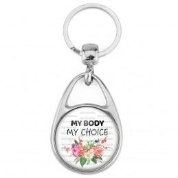 Porte Clés Métal 2 Faces Logo 3cm My body My choice - Mon corps Mon Choix - Feminist Girl Power