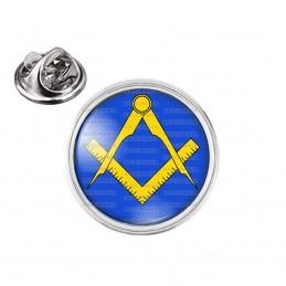 Pin's rond 2cm argenté Compas Equerre Francs-Maçons Symbole Maçonnique Jaune Fond Bleu