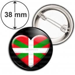 Badge 38mm Epingle Cœur Pays Basque Euskadi Euskara Drapeau Symbole 64 Biarritz