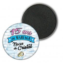 Magnet Aimant Frigo 3.8cm 15 ans de Mariage Noces de Cristal - Anneaux Anniversaire Mariage