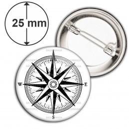 Badge 25mm Epingle Compas Boussole 1 - Symbole Marin
