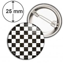 Badge 25mm Epingle Damier Pavé Mosaïque Maconnique Symbole Franc Maçons Noir et Blanc