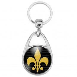 Porte Clés Métal 2 Faces Logo 3cm Fleur de Lys Royale Roi de France Royauté - Or sur Fond Noir