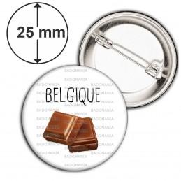 Badge 25mm Epingle Belgique Carré Chocolat
