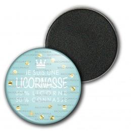 Magnet Aimant Frigo 3.8cm Je suis une Licornasse 50% Licorne 50% Connasse n4