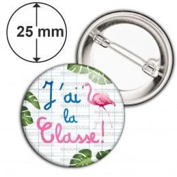 Badge 25mm Epingle J'ai la Classe - Quadrillage Instit Prof