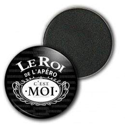 Magnet Aimant Frigo 3.8cm Le Roi de l'Apéro c'est Moi - Noir Blanc