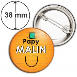 Badge 38mm Epingle Papy Malin - Fond orange